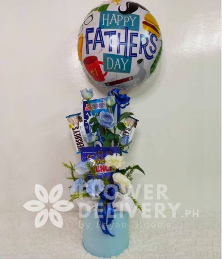 Happy Father's Day Balloon with Chocolates and Biscuits