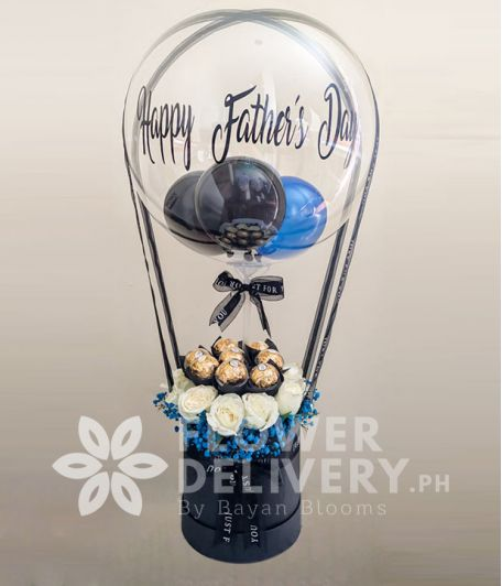 Happy Father's Day Balloon with Chocolates and Flowers