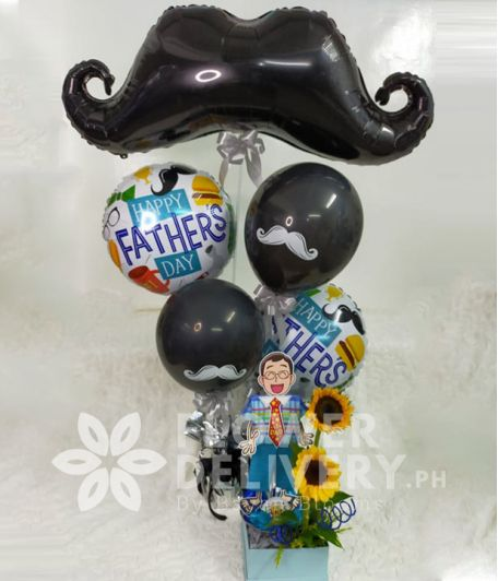 Mustache Balloons with Sunflowers
