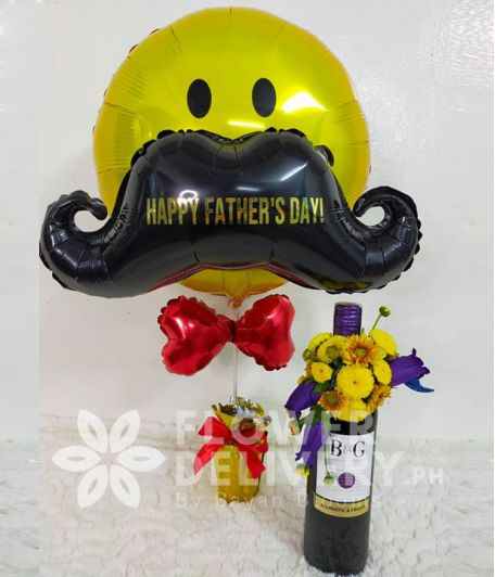 Smiley Mustache Balloon with Wine