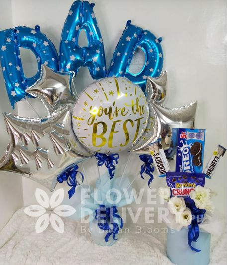 Special Dad Balloon with Chocolates and Biscuits
