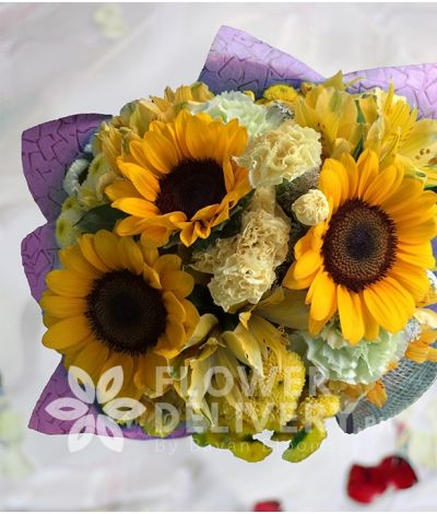 Yellow Bouquet of 3 Sunflowers