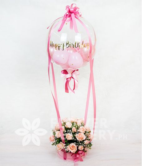 Bobo Balloon in a Box of PInk Roses
