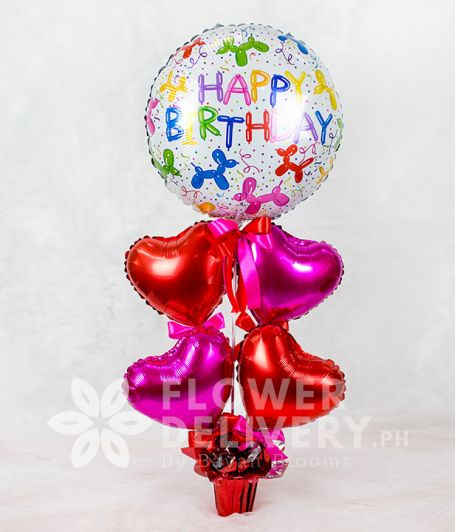 Colorful Happy Birthday Balloon with Heart Balloons
