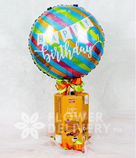 Colorful Happy Birthday Balloon with Wafers