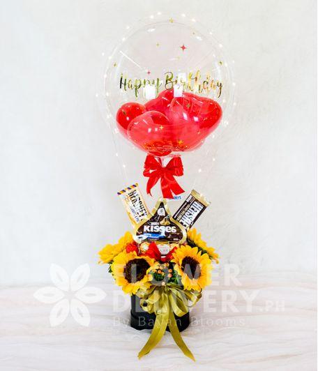 Happy Birthday Balloon in a Box of Sunflower