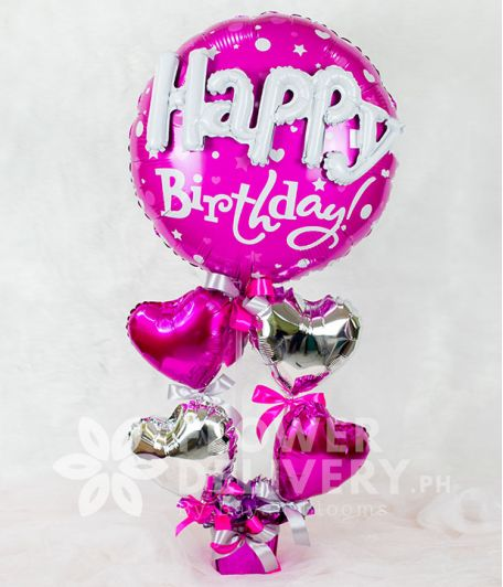 Happy Birthday Balloon with Heart Balloons