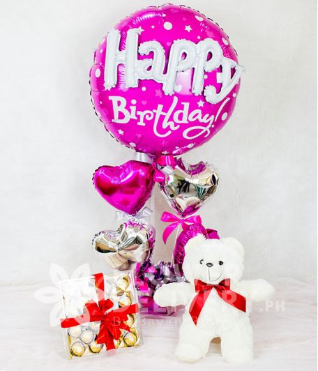 Happy Birthday Balloon with Hearts and Gifts Bundle