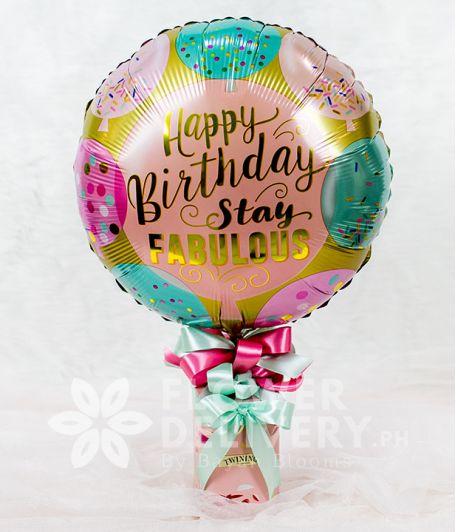 Happy Birthday Balloon with Twinings Tea