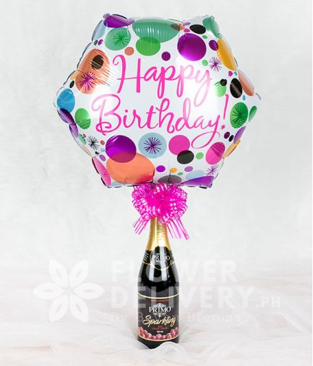 Happy Birthday Balloon with Wine and Pink Ribbon