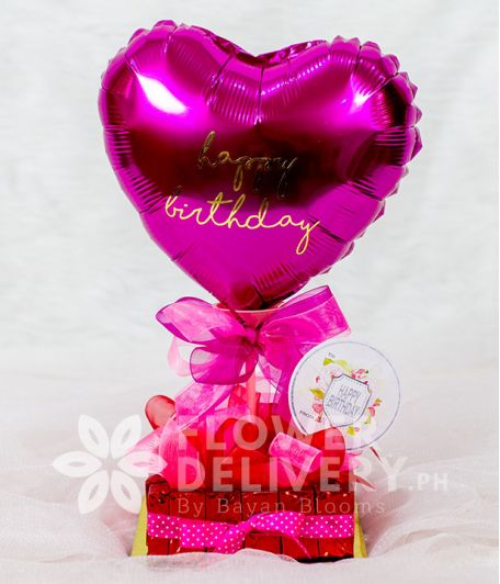 Pink Heart Balloon with Chocnut