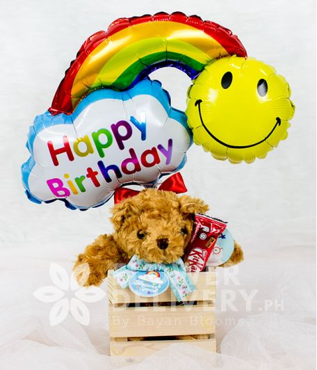 Small Teddy Bear with Happy Birthday Banner