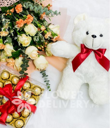 Imported Peach Roses Bundle with Chocolates and Bear