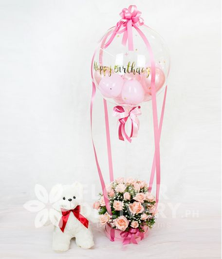 Box of Pink Roses with Bobo Balloon and Bear