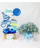 Box of Sky Blue Gypsophila with HBD Banner and Chocolates