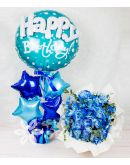 Charming Blue Roses Spray with HBD Balloon and Star Balloons