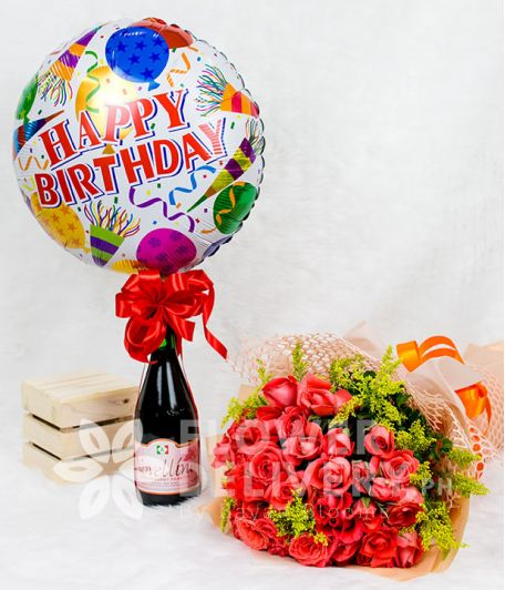 Elegant Pomelo Rose Bouquet with HBD Balloon and Wine