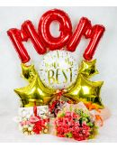 Elegant Pomelo Rose Bouquet with Mom Balloon and Chocolates