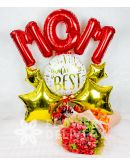 Elegant Pomelo Rose Bouquet with Mom Balloon