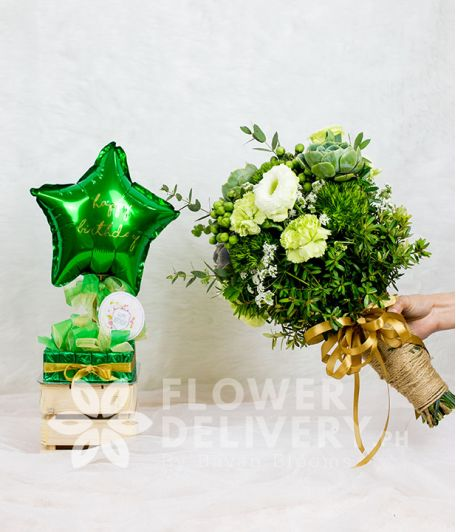 Green Bundle of Pretty Carnations and Succulents