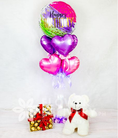Happy Birthday Balloon with Fairylight and Gifts Bundle