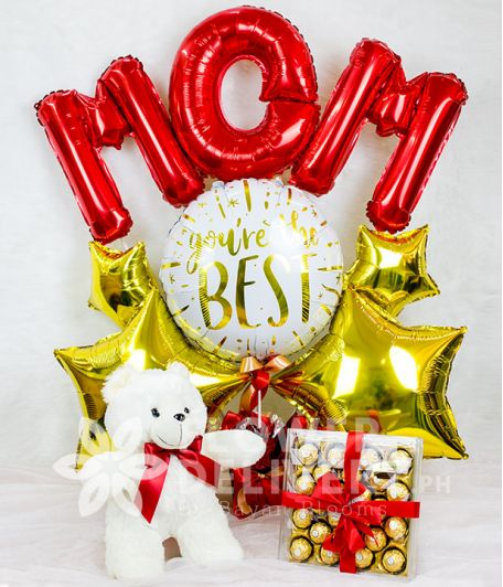 Mom Balloon with Chocolates and Bear