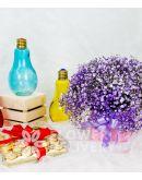 Pink Box of Purple Gypsophila with Ferrero Chocolates