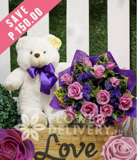 1 Dozen Lavender Roses with Bear