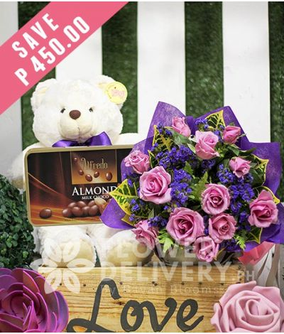 1 Dozen Lavender Roses with Bear and Alfredo Almond Milk Chocolate