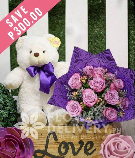 1 Dozen Lavender Roses with Bear