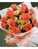 1 Dozen Peach Roses w/ Alstroemeria (Round Bouquet)