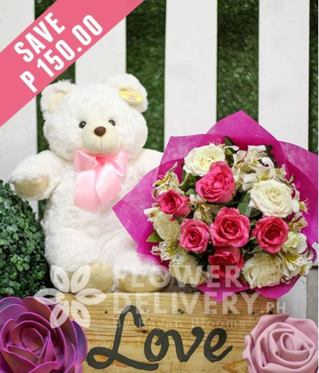1 Dozen Pink and White Roses with Bear
