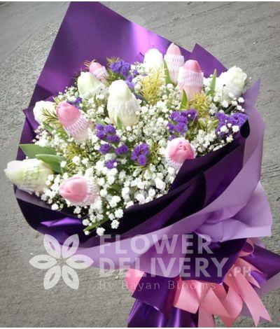 1 Dozen Pink and White Tulips