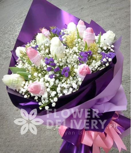 1 Dozen Pink and White Tulips