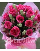 1 Dozen Pink Roses with Alstro (Round Bouquet)