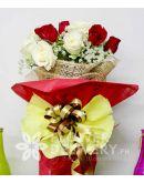 1 Dozen Red and White Roses
