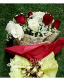 1 Dozen Red and White Roses