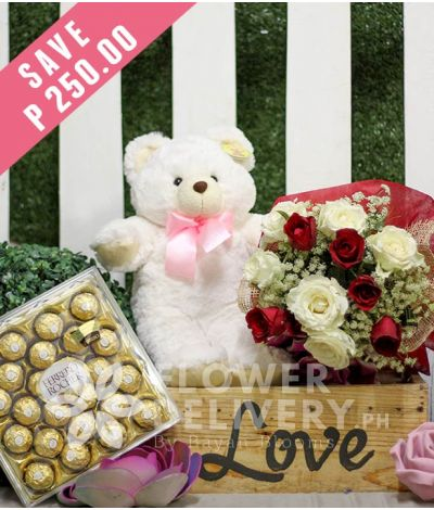 1 Dozen Red and White Roses with Bear and Ferrero