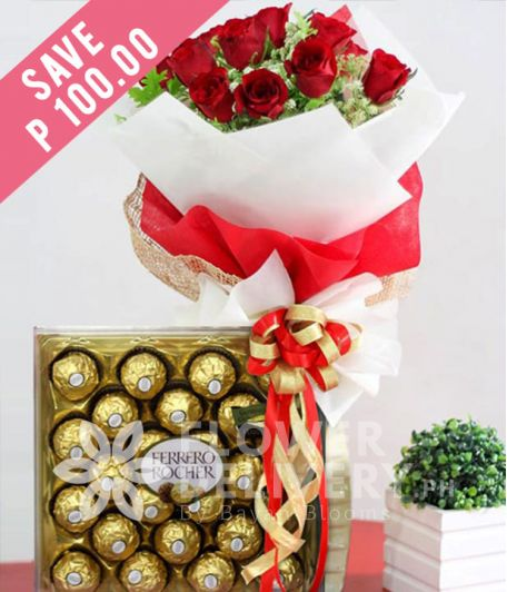 1 Dozen Red Roses and 24 pcs. Ferrero