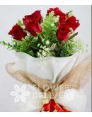 1 Dozen Red Roses (Round Bouquet)