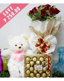 1 Dozen Red Roses with Bear and 24 pcs. Ferrero
