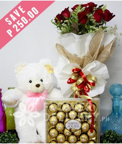 1 Dozen Red Roses with Bear and 24 pcs. Ferrero