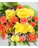 1 Dozen Yellow and 1 Dozen Peach Roses (Round Bouquet)