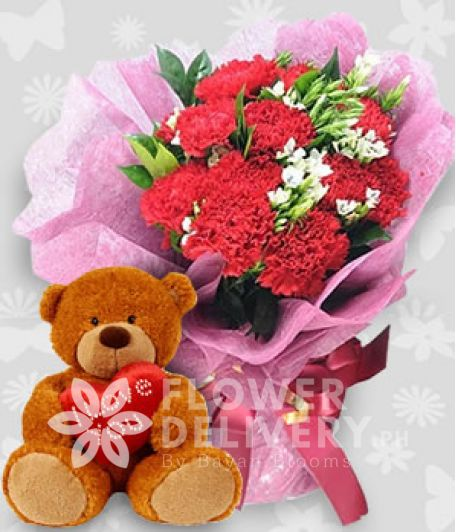 1 Dozen Pink Carnations with Bear