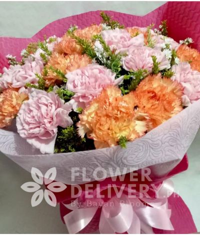2 Dozen Pink and Peach Carnations