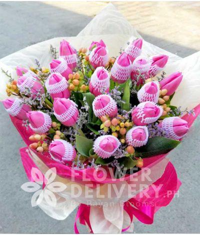 2 Dozen Fuchsia Pink Tulips