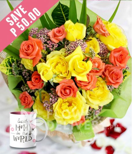 1 Dozen Yellow and 1 Dozen Peach Roses with Mug for Mom