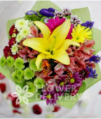 Yellow Lilium with Mixed Colorful Flowers