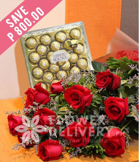 1 Dozen Ecuadorian Red Roses with 24 pcs. Ferrero