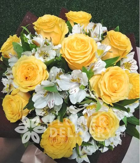 1 Dozen Imported Yellow Roses w/ Alstromeria